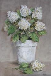 Original Painting on Panel - White Hydrangeas on linen SOLD