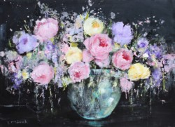 Original Painting on Panel - Pastel Roses