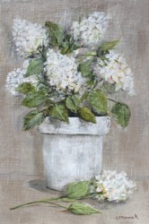 Original Painting on Panel - White Hydrangea love on linen SOLD