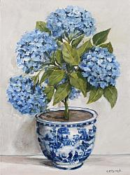 Original Painting on Canvas - Hydrangea Topiary in B & W - postage included Australia wide
