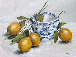 ORIGINAL Painting on Canvas - Laying Lemons - postage included Australia wide