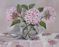 ORIGINAL  Painting on Canvas - Pink toned Hydrangeas - postage included Australia wide