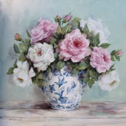 Original Painting on Panel - Scented Roses in Blue & White Bowl