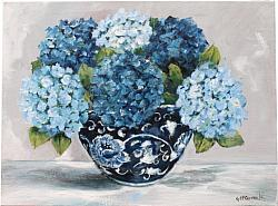 Original Painting on Canvas - Blues & Whites - postage included Australia wide