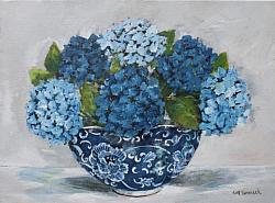 Original Painting on Canvas - In a Blue & White Bowl - postage included Australia wide