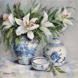 Original Painting on Panel - Lilies with Blue & White - Postage is included Australia Wide