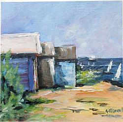 ORIGINAL Painting on Canvas - Beach Houses - 20 x 20cm series