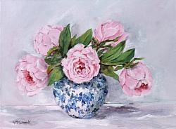 ORIGINAL Painting on Canvas - Pretty Peonies - postage included Australia widePretty {