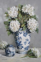 Original Painting on Panel - Hydrangeas with Blue & White China - Postage is included Australia Wide