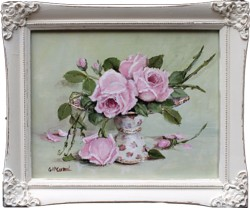 Original Painting - Laying Roses on a Cake Stand - FREE POSTAGE Australia wide