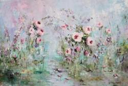 Original Painting on Panel - Flower Love - Postage is included Australia Wide