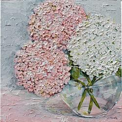ORIGINAL Painting on Panel - Pink & White Hydrangeas - postage included Australia wide