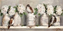 Original Mixed Media on Panel - French Containers, Hydrangeas & Birds on a Shelf - Postage is included Australia Wide
