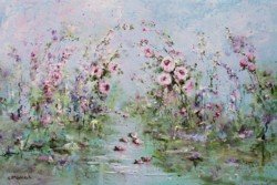 Original Painting on Panel - Fantasy Flowers - Postage is included Australia Wide