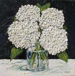 ORIGINAL Painting on Panel - White Textured Hydrangeas - postage included Australia wide