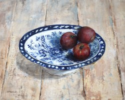 Original Painting on Panel - Apples in Blue & White - Postage is included Australia Wide