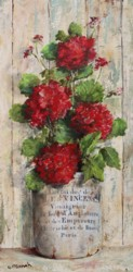 Original Painting on Panel - Red Geraniums in French Container