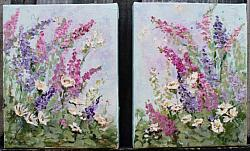 Original Paintings on Canvas - Foxgloves - 20 x 25cm series