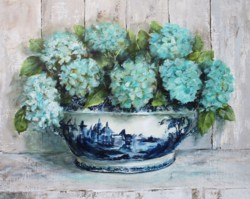 Original Painting on Panel - Hydrangeas in Blue & White Tureen - Postage included Australia wide