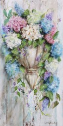 Original Painting on Panel - Flowers in a Wall Urn - Postage is included Australia Wide