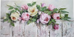 Original Painting on Panel - Flowers on a Bench - Postage is included Australia Wide