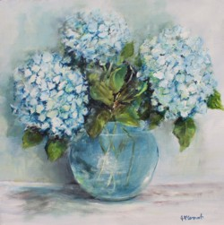 Original Painting on Panel - Nearly Blue Hydrangeas - Postage is included Australia Wide