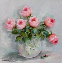 Original Painting on Panel - Blushing Roses - Postage is included Australia Wide