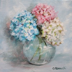 Original Painting on Canvas - Hydrangeas - 20 x 20cm series