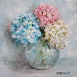 Original Painting on Canvas - Hydrangeas - 20 x 20cm series