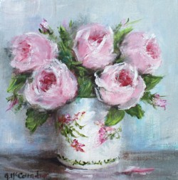 Original Painting on Canvas - Roses in a vase - 20 x 20cm series