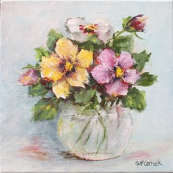 Original Painting on Canvas - Pansies in a vase - 20 x 20cm series