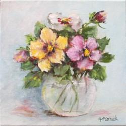 Original Painting on Canvas - Pansies in a vase - 20 x 20cm series