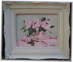 Original Painting - Favourite Pink Tea Cup and Roses - FREE POSTAGE AUSTRALIA WIDE