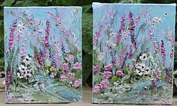 Original Paintings on Canvas - My Cottage Garden - Pair of paintings