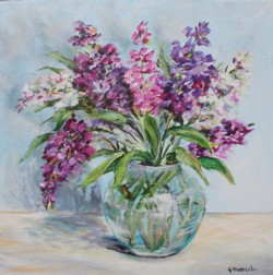 Original Painting on Panel - Stocks in Glass Vase - Postage is included Australia Wide