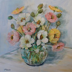 Original Painting on Panel - Poppies in Glass Vase - Postage is included Australia Wide