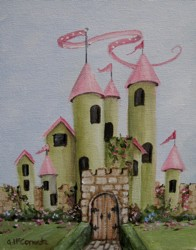 Original Painting on Canvas - Rose Castle - Postage is included Australia Wide