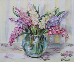 Original Painting on Canvas - Stocks on Floral Cloth - 25 x 30cm series