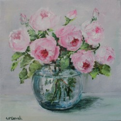 Original Painting on Canvas - Sweet Roses - 20 x 20cm series