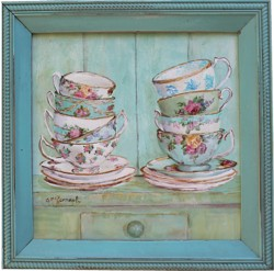 Original Painting - Stacked Tea Cups Gallore - Postage is included Australia Wide.