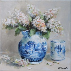 Original Painting on Canvas - Still Life Blue & Whites - 20 x 20cm series