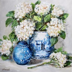 Original Painting on Panel - Hydrangeas in Blue & White Pots - 35 x 35cm
