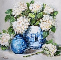 Original Painting on Panel - Hydrangeas in Blue & White Pots - 35 x 35cm