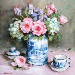 Original Painting on Panel - Blue & White Still life study - 35 x 35cm