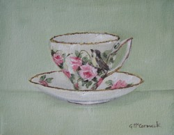 Original Painting on Canvas - Bird & Roses Tea Cup - Postage is included Australia Wide