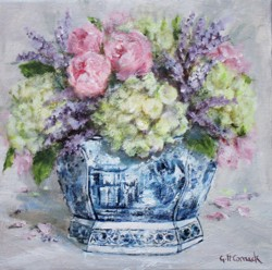 Original Painting on Canvas - Florals in Blue & White - 25 x 25cm series