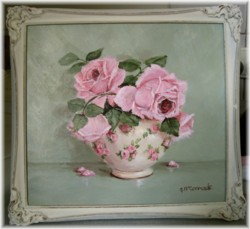 Original Painting - Rose Blooms in a Chintz Bowl - FREE POSTAGE AUSTRALIA WIDE