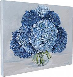 ORIGINAL Painting on Canvas - Assorted Blue Hydrangeas - postage included Australia wide
