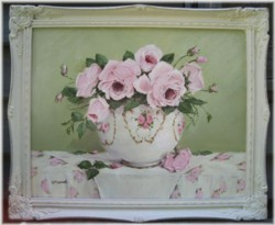 Original Painting - Larger size - Pink Summer Roses in a China Bowl - Postage is included Australia wide