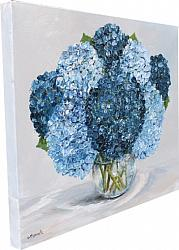ORIGINAL Painting on Canvas - Range of Blue Hydrangeas - postage included Australia wide